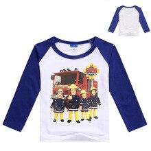 2017 New Spring Baby Boys Clothing Fireman Sam Shirt Long Sleeve Baby Tshirt Boys Shirts Children T Shirt Kids Fashion Top N7153