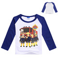 2017 nueva primavera Ropa masculina de bebé Fireman Sam camisa manga larga Camiseta del bebé Niños Camisas niños camiseta niños moda Top n7153