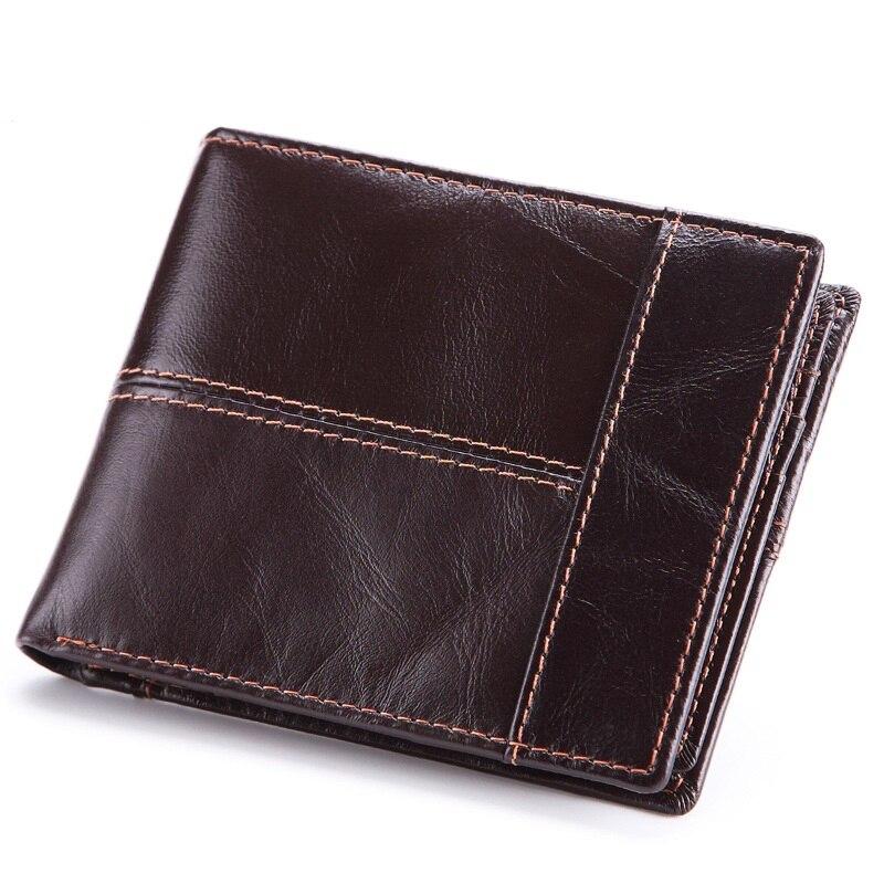 FSINNLV 2018 Genuine Leather Multifunction Short Men Wallet Clutch Oil Wax Leather Male Wallet Purse Card Holder Wallet HB84