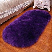 Faux Sheep oval rugs Classic Rectangle Sheepskin Area Rug Plush Premium Shag Fur  white rug black and
