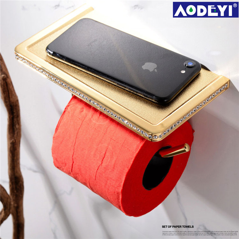 AODEYI 24K Gold ORB Chrome & Crystal Wall Mounted Toilet Paper Holder Bathroom Fixture Roll Paper Holders With Phone Shelf meifuju vintage toilet paper holder with shelf wall mount bathroom accessories bronze paper holders antique brass roll holder
