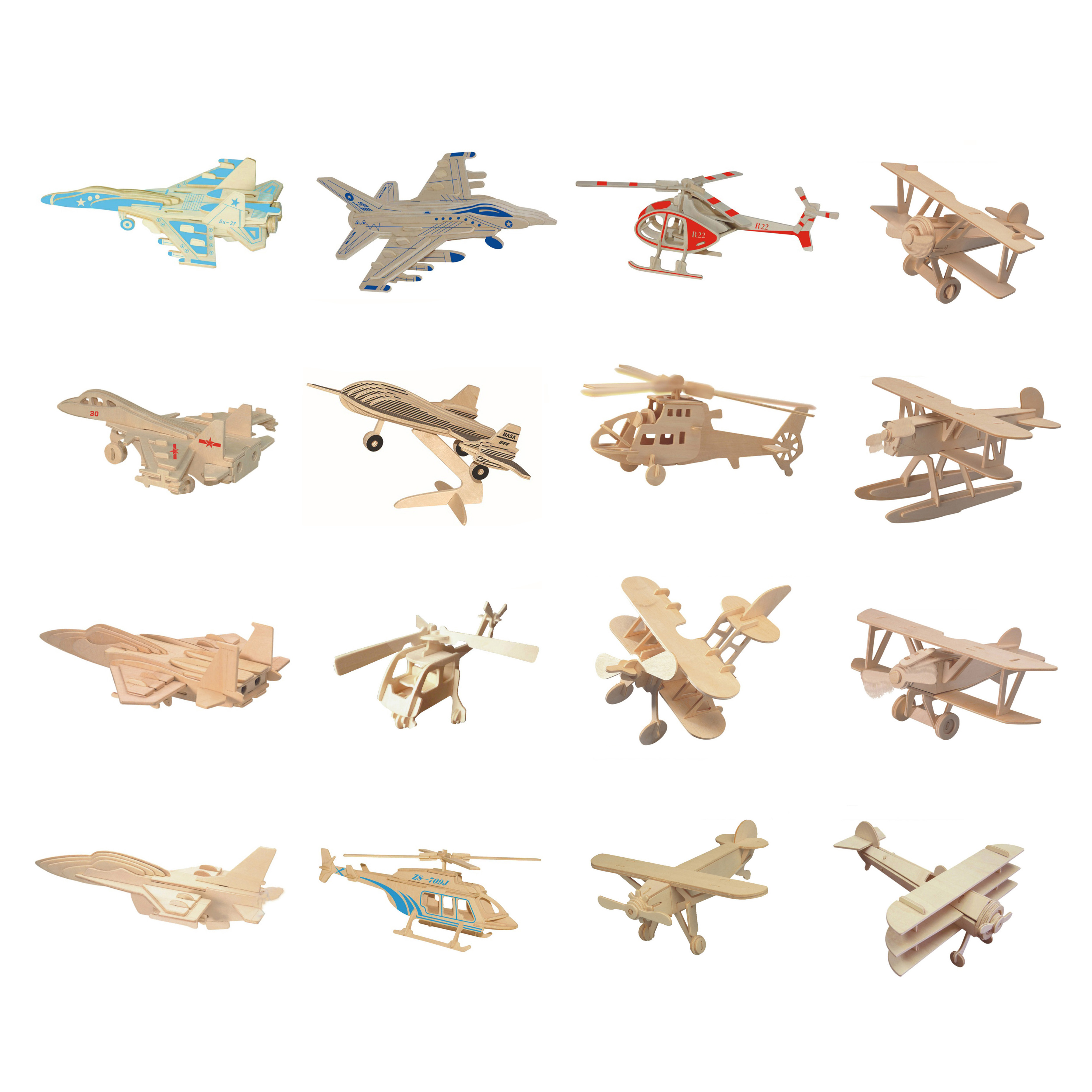 Chanycore Baby Learning Educational Wooden Toys 3D Puzzle Plane Helicopter Su-27 F-15 F-16 Propeller Aircraft Kids Gifts 4294