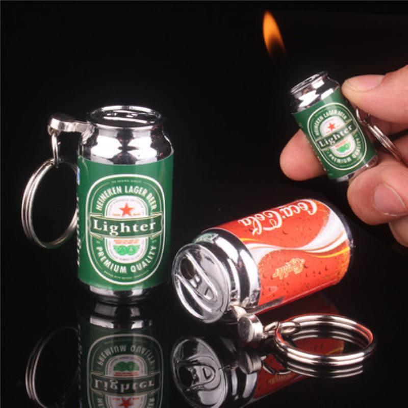 Personality Cola Beer Cans Model inflatable Butane Gas Flame Cigarette Lighter Portable With Key Chain Pendant Men Gift Lighters