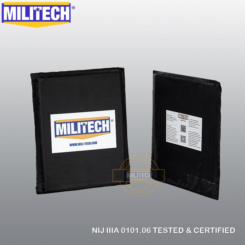 MILITECH 6 x 8 Rectangle Cut Pair NIJ IIIA 0101 06 Aramid Ballistic Panel E2 Level