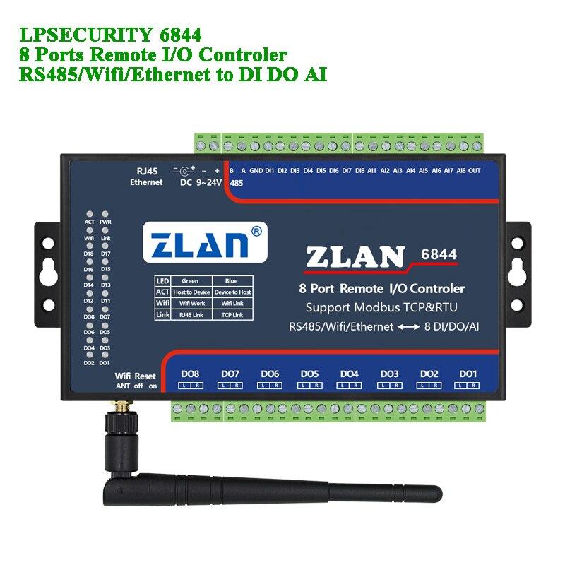 Contrôleur IO à distance 8 Ports RS485/wifi/Ethernet vers DI DA AI Modbus RTU TCP LAN entrée numérique sortie analogique 8 canaux i/o module