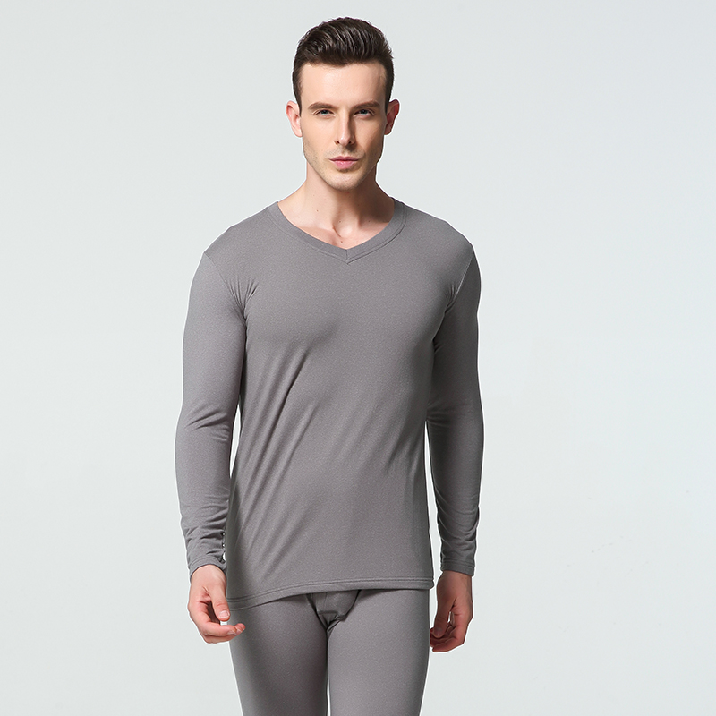 1 Sets Winter Long Johns Men Thermal Underwear Sets Simple Solid V-neck Keep Warm For Man Male Clothing Sleep Wear Spring Autumn