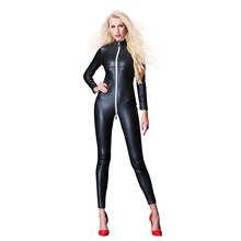 цена на 2019 Faux Leather Jumpsuit Women Black Red Green Open Crotch PU Leather Jumpsuit With Zipper Plus Size 4XL Pole Dance Rompers