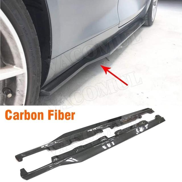 C Class Carbon Fiber Side Skirts Lip Aprons for Mercedes Benz W205 C205 C63 AMG 2 Door 2015 2016 2017 2PCS