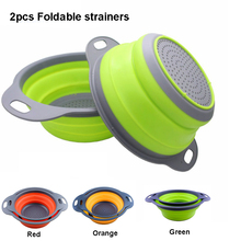 2 Pieces Collapsible Colanders Set Silicone Kitchen Fruit Vegetable round Baskets Folding Strainers Kitchen Accessories