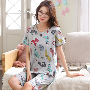 Image 3 - women pajamas sets big size 100% cotton short sleeve nightwear animal pyjamas lady summer sleepwear M L XL XXL XXXL 4XL 5XL