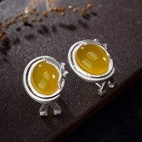 Не подделка S925 стерлингового серебра Польша янтарные серьги высший класс Литва Ретро халцедон