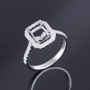 Image 4 - Transgems 14K White Gold Halo Type Ring Semi Mount without a 7*9mm Emerald  Gemstone but with Moissanite Accents Customized Ring