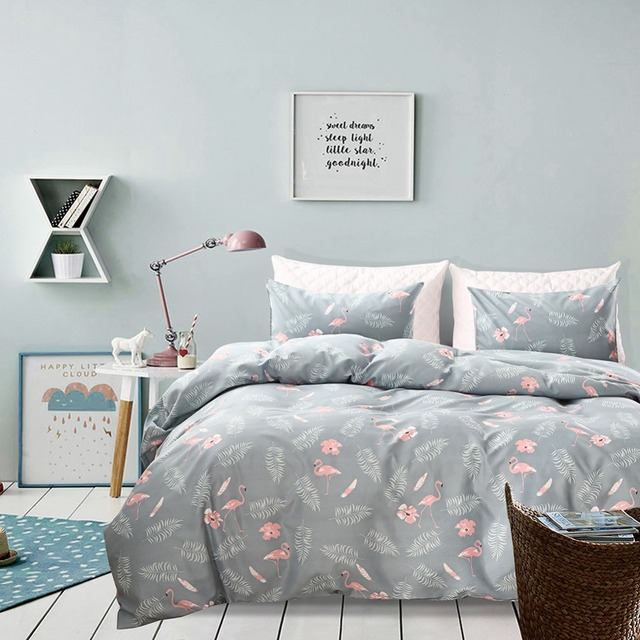 Cartoon Pink Flamingo Duvet Cover Set With Pillowcases American Country Style Bedding Twin Queen King