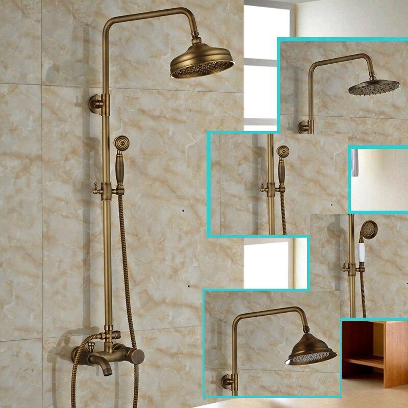 Brass Antique Wall Mounted Shower Mixer Faucet Set