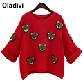 2016 Spring Autumn New Fashion Women Knitted Shirt Tops European Style Ladies Sweater and Pullover Plus Size Clothing Red XXXXXL