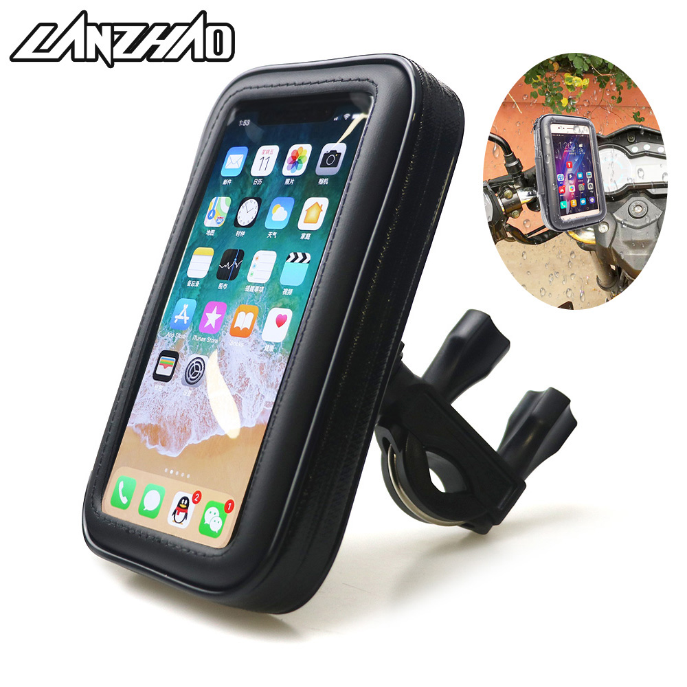 lanzhao Motorcycle Handlebar Phone Holder Zipper Pocket Waterproof Kawasaki
