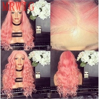 MRWIG long pink curly cosplay lace front lace wig middle part 26in real hair wig for lady heat resistant fiber