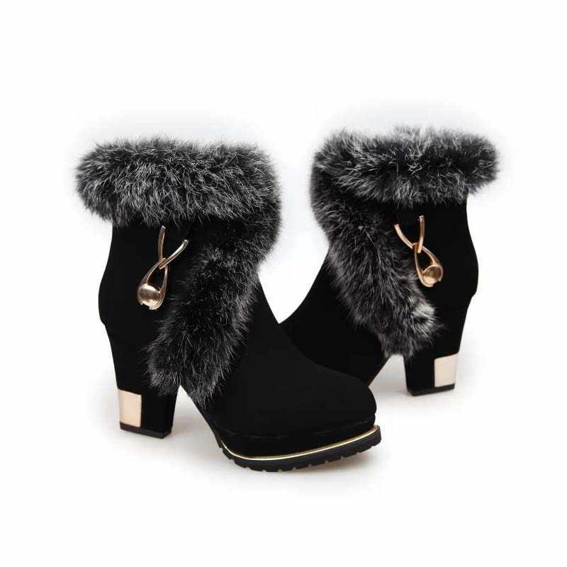 46bcdbfb5 ... BENZELOR/Новинка 2018 года, модная зимняя женская обувь на высоком  каблуке с искусственным мехом