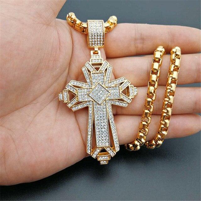 2019 neueste Iced Out Edelstahl Big Kreuz Anhänger Halskette für Männer Gold Farbe Christian Cruzar Halskette Religiöse Schmuck
