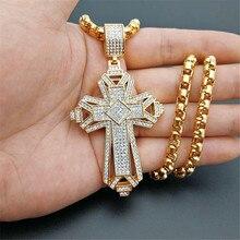 Collier avec pendentif grande croix en acier inoxydable glacé pour hommes, couleur or, collier Cruzar chrétien, bijoux religieux, collection 2019