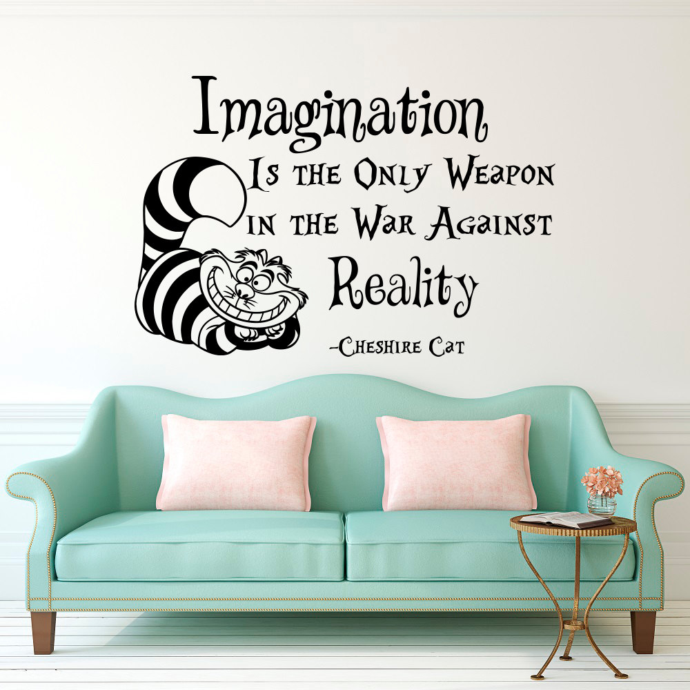 Aliexpress buy cheshire cat saying imagination is the only aliexpress buy cheshire cat saying imagination is the only weapon quotes wallpaper alice in wonderland mural kids room decor vinyl decal d 311 from amipublicfo Images