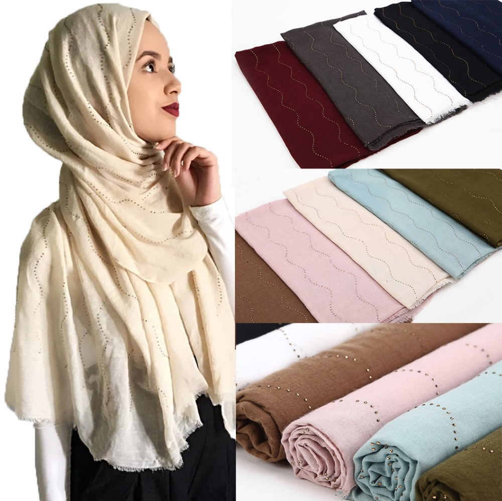 10pc Women high quanlity cotton plain diamond glitter shawls hijab raised grain long headband 10 color