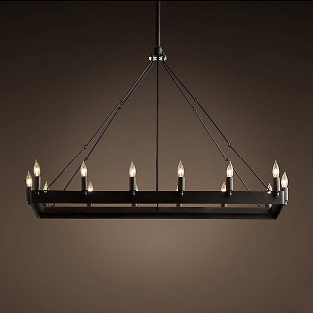 American Country Wrought Iron Chandelier Loft Retro Industrial Style Restaurant 14 Candle Lighting Rectangular French