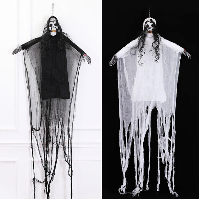 Diy Scary Halloween Props.Us 18 18 29 Off Creepy Halloween Hanging Ghost Props Horror Skull Ghost Haunted House Bar Club Scene Decoration Scary Diy Party Supplies In Party