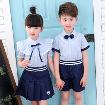 цена на Children's Uniforms New Summer Shirts Kindergarten Uniforms Uniforms Costumes Pupils Uniforms Two-piece Suits