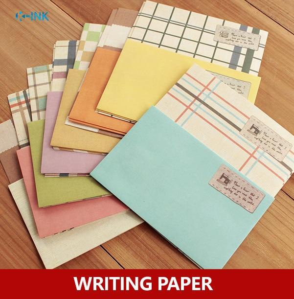 4pcs Letter Paper + 2pcs envelope / pack , Colored grid writing paper set , Grid envelope paper set