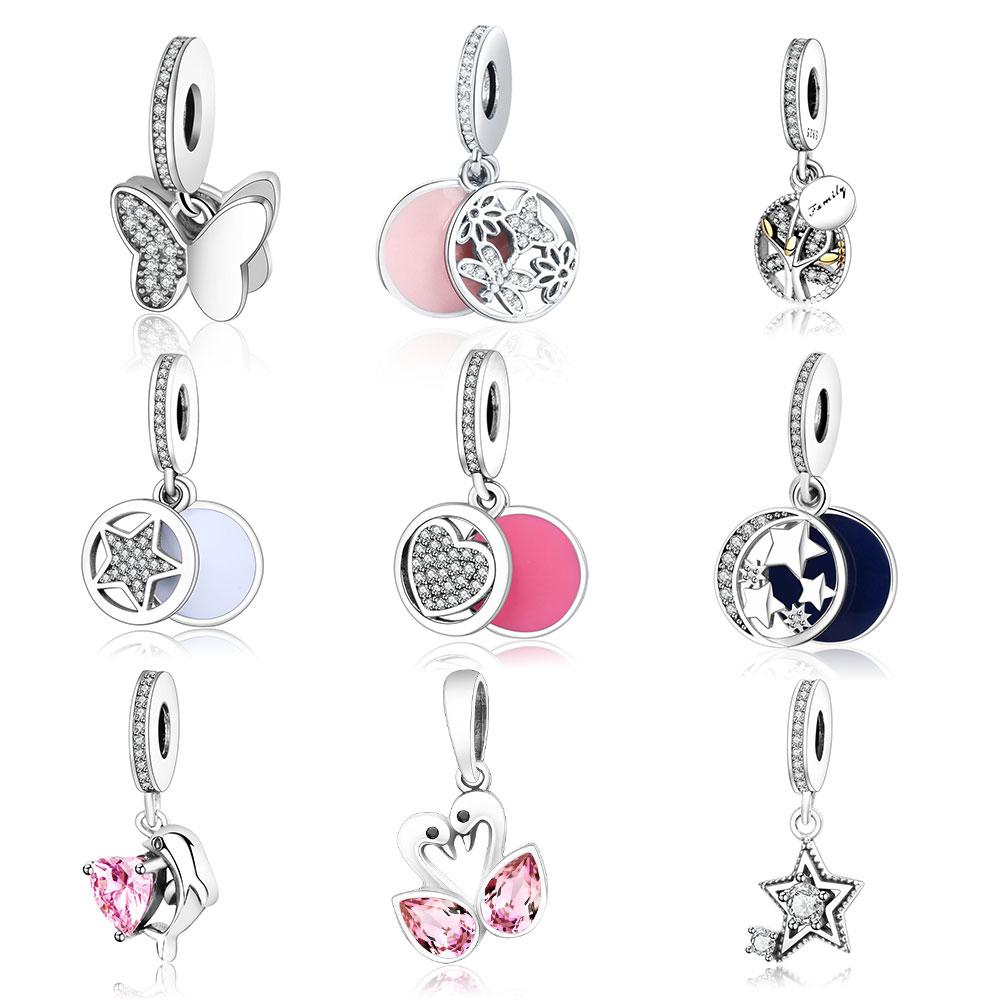 2016 Autumn 925 Sterling Silver Fluttering Butterflies with Clear Cz Pendant Charms Fit Original Pandora Charms Bracelet Jewelry