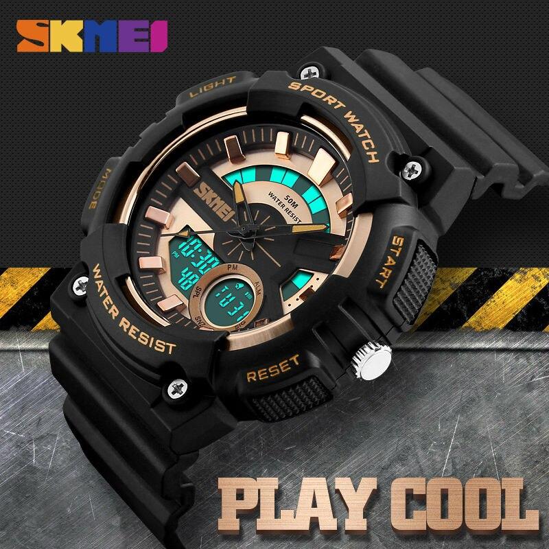 Aktiv Skmei Männer Dual Display Armbanduhren 4 Farben Wasserdicht Chronograph Uhr Mode Outdoor-sportarten Uhren Relogio Masculino 1235