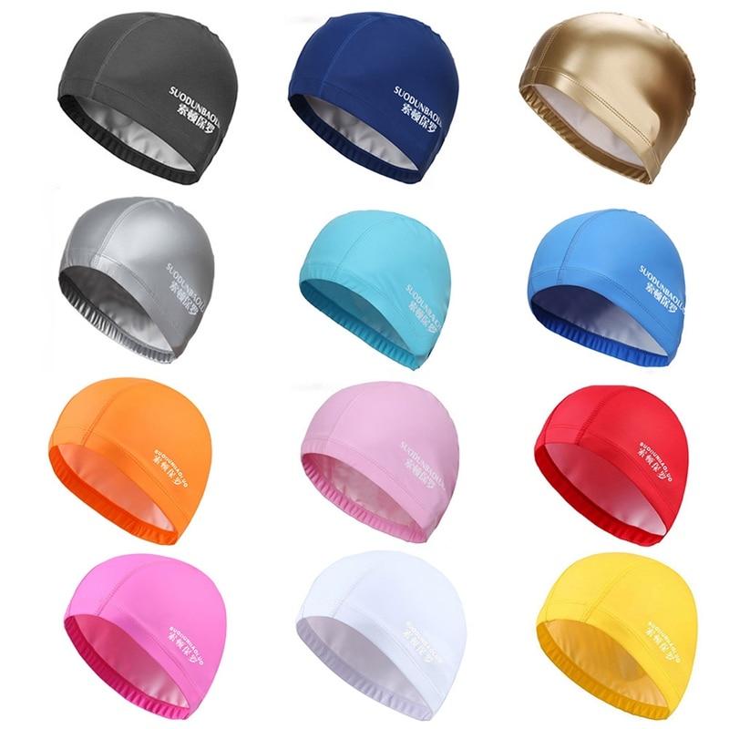 2018 Elastic Waterproof PU Fabric Protect Ears Long Hair Sports Swim Pool Hat Swimming Cap Free size for Men & Women Adults