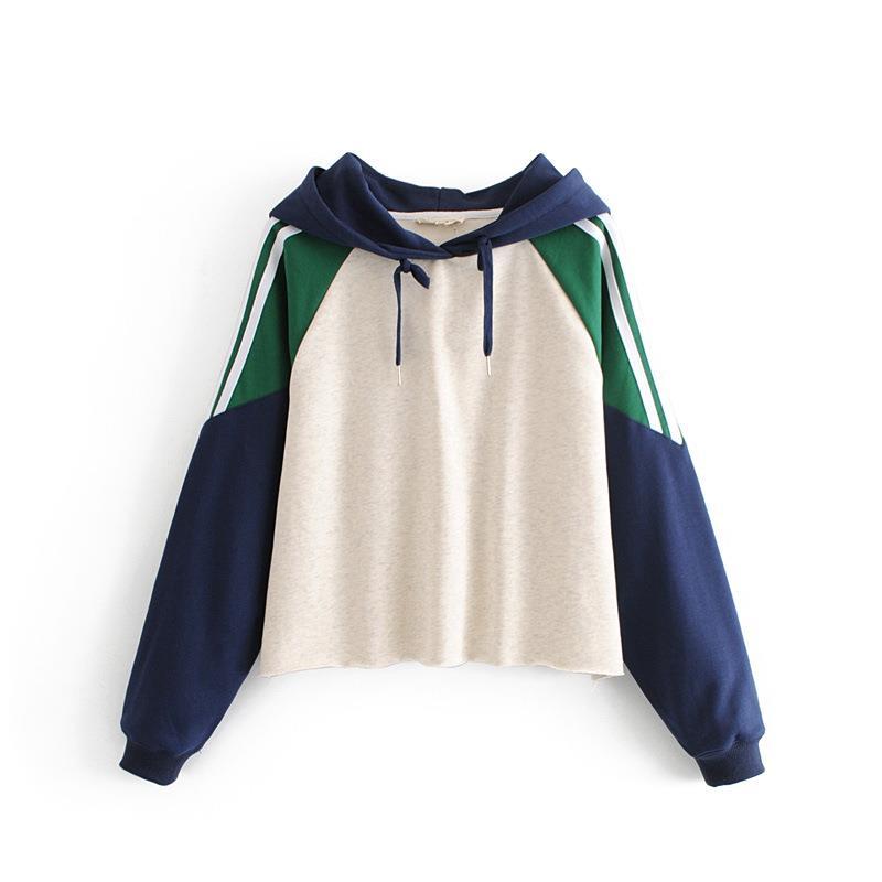 Sweet Panelled Hoodie Tops Women Autumn Winter Stylish Stripes Spliced Long Sleeve Harajuku Hoodies Female
