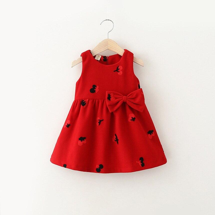 5e14e6831d4c 2019 primavera e no outono novo estilo da menina do bebê vestido de lã  cereja bonito criança crianças moda bonito colete vestido de festa vestido