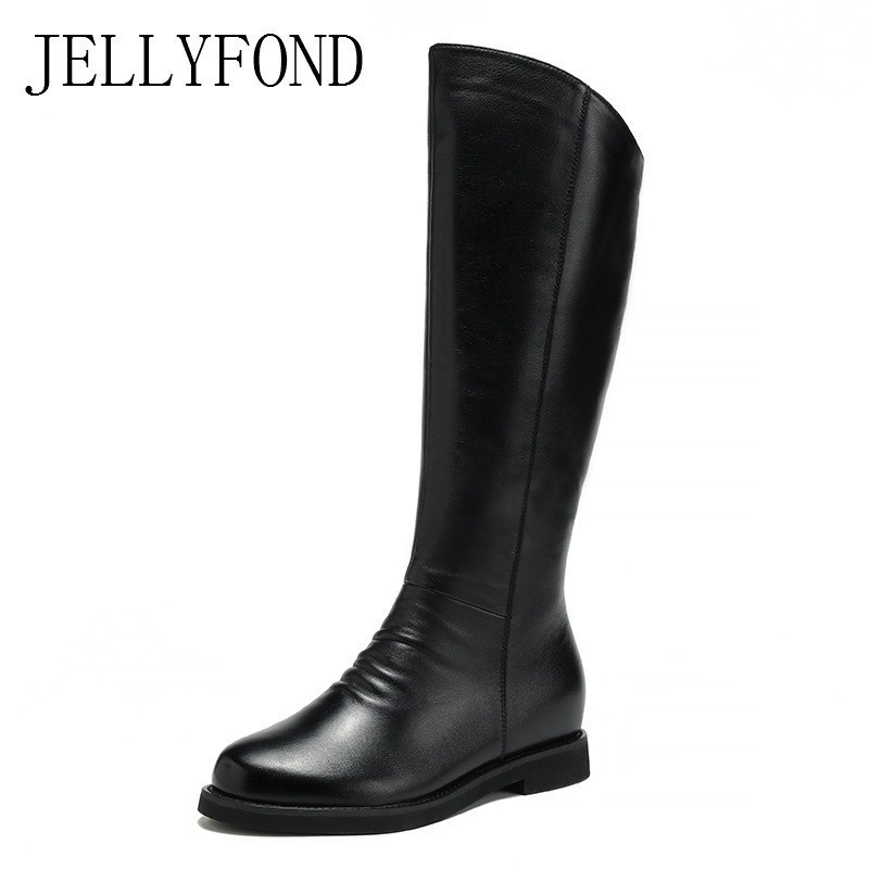 Black Genuine Leather Knee High Boots Women Warm Plush Fur Snow Boots 2018 Fashion Casual Winter Shoes Woman Hidden Wedge Boots tie up pompons hidden wedge snow boots