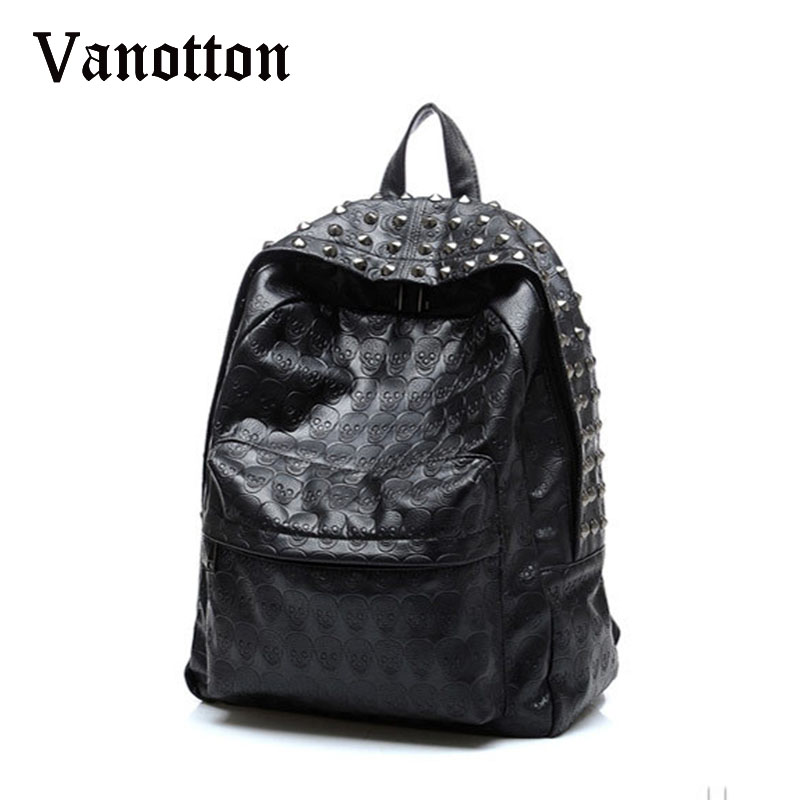 2017 Brand Women Pu Leahter Backpacks School Bags For Teenagers Girls Skull Pattern Shoulder Bag Girl Fashion Rivet Bookbag