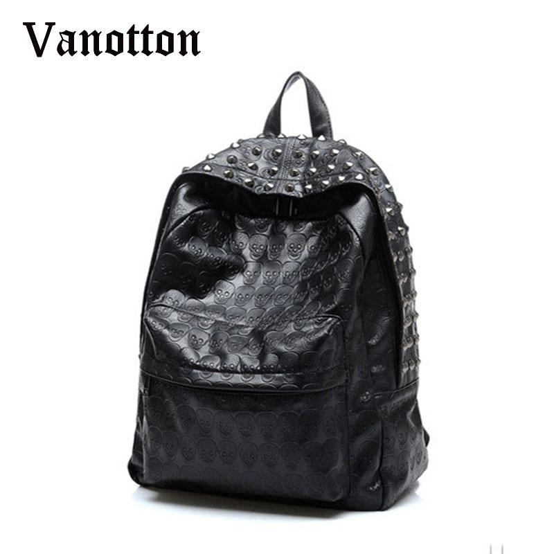 2019 mujeres de la marca Pu Leahter mochilas mochilas escolares para adolescentes niñas patrón de cráneo bolsa de hombro chica moda remache mochila