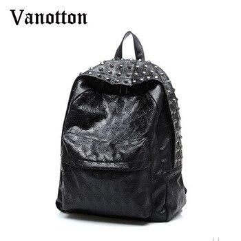 2020 Brand Women Pu Leahter Backpacks School Bags For Teenagers Girls Skull Pattern Shoulder Bag Girl Fashion Rivet Bookbag