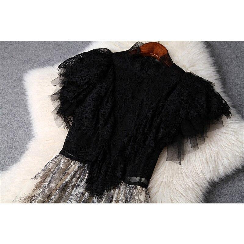 VERDEJULIAY, осень 2019, модное подиумное офисное платье, женское, длинный рукав, вышивка бисером, черное, ТРАПЕЦИЕВИДНОЕ, тонкое, элегантное платье - 3