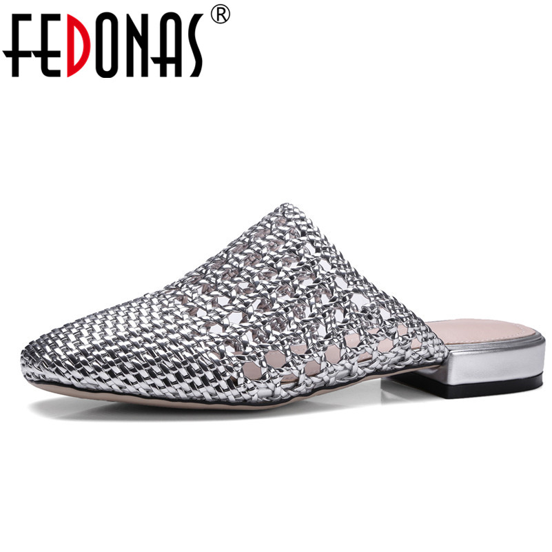 FEDONAS 2020 Women Sandals Summer Style Bling Fashion Cut outs Shoes Woman Low Heels Sandal Femal