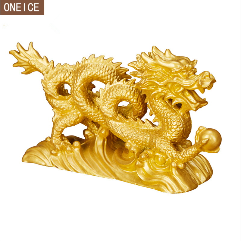 Dragon Sculpture Statue Chinese Resin Carving Home Decoration Accessories Feng Shui Dragon Decoration Statue Zodiac Furnishings