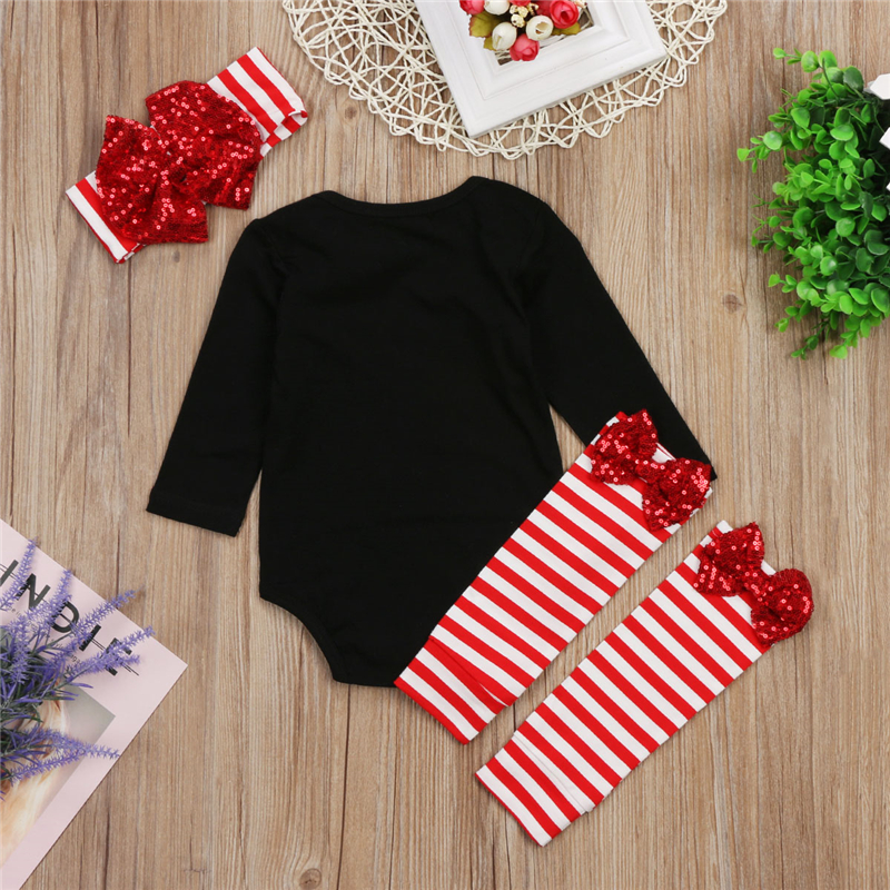 Xmas Baby Girl Clothing Set Christmas Fall Newborn Baby Girls Romper Jumpsuit Leg Warms Leggings Headband 2017 New Bebes Outfits