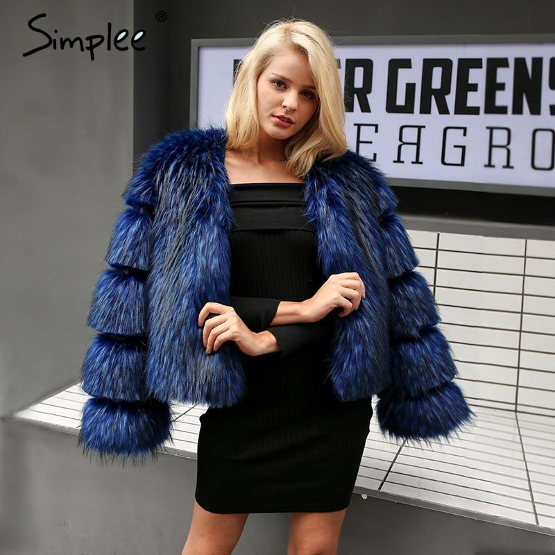 Simplee пушистые теплые пальто с искусственным мехом женские элегантные длинные рукава Женский Верхняя одежда черный шик осенне-зимнее пальто...