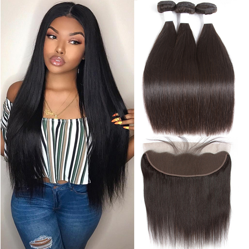 Tuneful Straight Human Hair 3 Bundles With Frontal Closure Malaysian Non Remy Hair Pre Plucked Lace Frontal Closure With Bundles(China)
