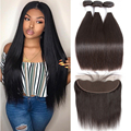 Tuneful Straight Human Hair 3 Bundles With Frontal Closure Malaysian Non Remy Hair Pre Plucked Lace Frontal Closure With Bundles