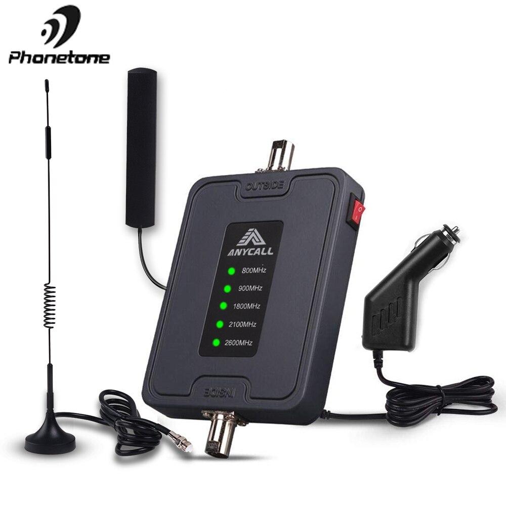Téléphone portable Voiture Amplificateur de Signal 800/900/1800/2100/2600 MHz 2G 3G 4G LTE Téléphone Portable de 5 Bandes Cellulaire Répéteur Amplificateur pour Voiture/RV