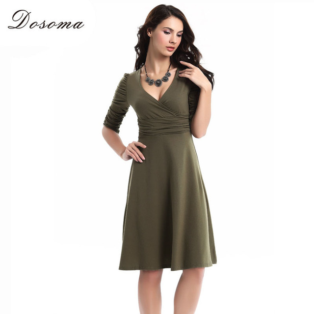 Womens Elegant Dresses Maxi Big Size V Collar High Waist Work Party Casual S -2XL c6c97f283134