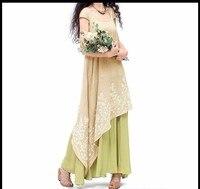 Long Ethnic elegant o neck short sleeve asymmetrical maxi dress for women summer Mexican style boho festival dresses vestidos