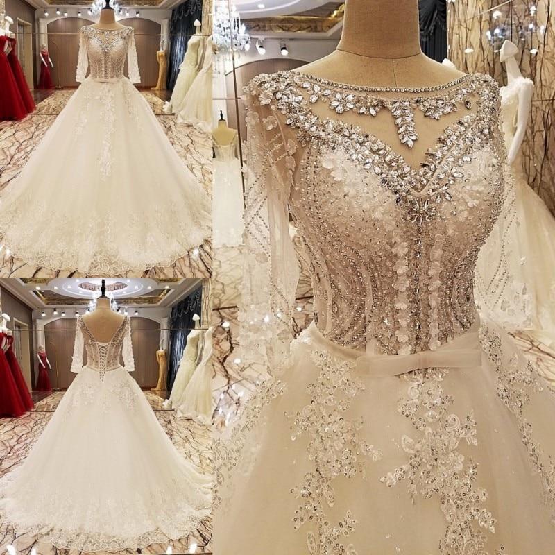 LS89644 elegant lace wedding dress ball gown crystal wedding gowns ...